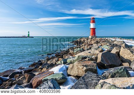 View To The Mole In Warnemuende, Germany.