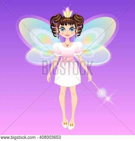 Girl Wearing A Princess Crown With Wings And A Magic Wand. Fairy Fairy, Little Sorceress. Image As A