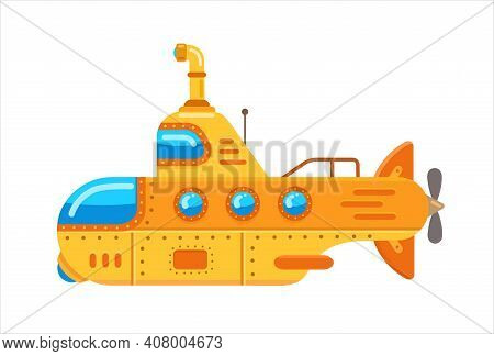 Yellow Submarine With A Periscope. Flat Vector Illustration Isolated On White Background
