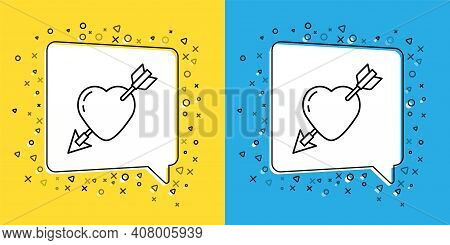 Set Line Amour Symbol With Heart And Arrow Icon Isolated On Yellow And Blue Background. Love Sign. V
