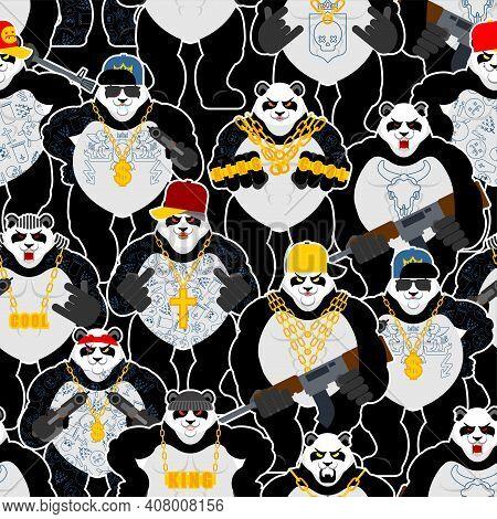 Panda Gangster Gang Pattern Seamless. Cool Bear Gang Of Bandits Background. Swag Gangsta Texture. An
