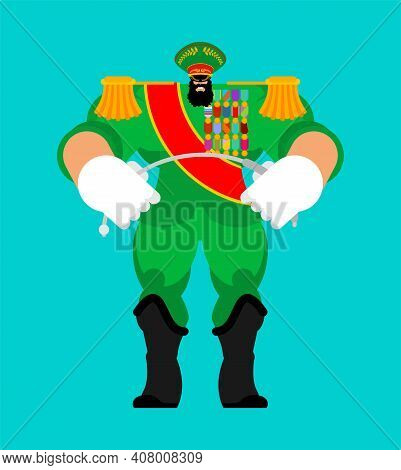 Dictator. Evil Military Ruler. Boss With Unlimited Power. Vector Illustration