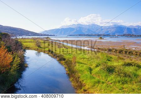 Beautiful Wetland Landscape. Montenegro, Tivat. View Of Tivat Salina On Sunny Spring Day