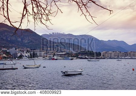 Beautiful Mediterranean Landscape On Cloudy Winter Evening . Montenegro, Bay Of Kotor. View Of Tivat