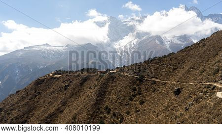 Panoramic Views Of The Everest Range, Landscape In The Himalayas, Everest Base Camp Trek, Everest Ho
