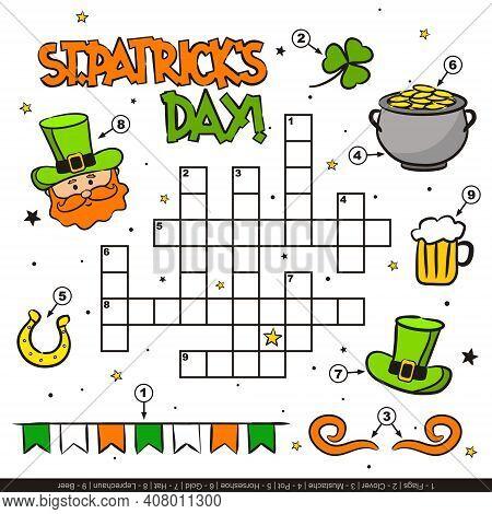 Saint Patrick's Day Crossword For Kids. Children's Festive Game With Cartoon Elements. Leprechaun, C