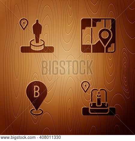 Set Location With Fountain, And Monument, And City Map Navigation On Wooden Background. Vector