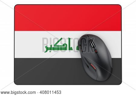 Computer Mouse And Mouse Pad With Iraqi Flag, 3d Rendering Isolated On White Background