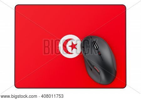 Computer Mouse And Mouse Pad With Tunisian Flag, 3d Rendering Isolated On White Background