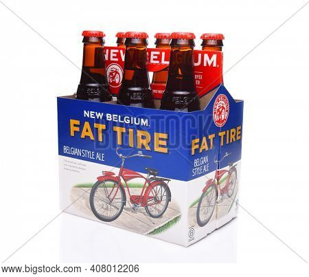 IRVINE, CALIFORNIA - December 14, 2017: Fat Tire Amber Ale. 6 Pack of Fat Tire Amber Ale from the New Belgium Brewing Company, of Fort Collins, Colorado.