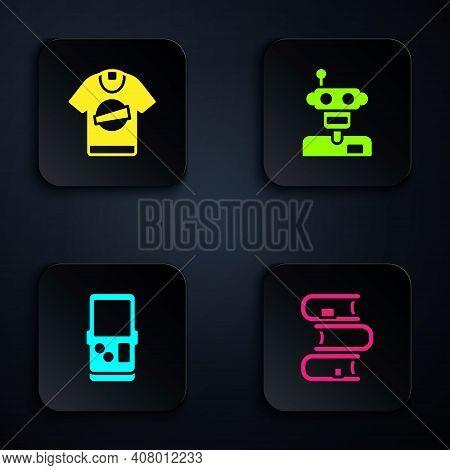Set Book, T-shirt, Tetris And Robot. Black Square Button. Vector