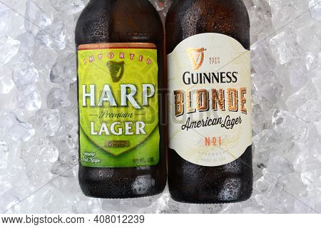 IRVINE, CA - JANUARY 11, 2015: A bottle of Harp Lager and Guinness Blonde closeup on a bed of ice. Both lagers are made by the Guinness Brewing Company in Dublin, Ireland.