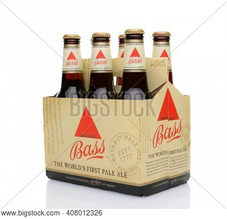 IRVINE, CA - MAY 25, 2014: A 6 pack of Bass Ale, The Bass Brewery was founded in 1777 by William Bass, in Trent, England is now owned by Anheuser-Busch InBev.