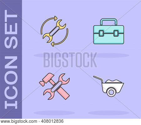 Set Wheelbarrow, Wrench And Arrows As Workflow, Hammer Wrench And Toolbox Icon. Vector