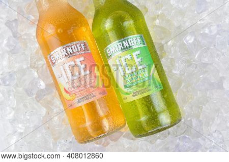 IRVINE, CA - JANUARY 4, 2018: Smirnoff Ice Green Apple and Peach Bellini. The Original Premium Flavored Malt Beverage with a delightfully crisp, citrus taste.