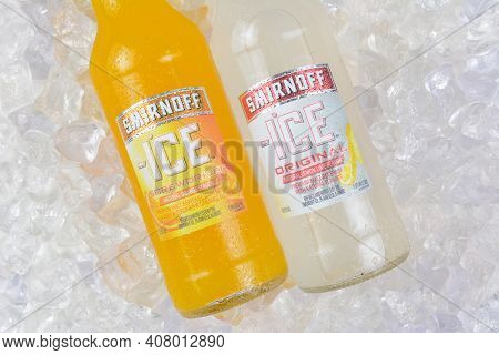 IRVINE, CA - JANUARY 4, 2018: Smirnoff Ice Original and Screwdriver. The Original Premium Flavored Malt Beverage with a delightfully crisp, citrus taste.