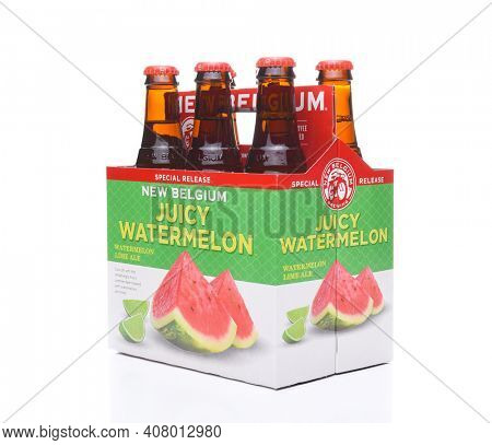 IRVINE, CA - JULY 16, 2017: New Belgium Watermelon Lime Ale 6 pack. A craft brewery located in Fort Collins, Colorado. It was opened in 1991 by Jeff Lebesch and Kim Jordan.