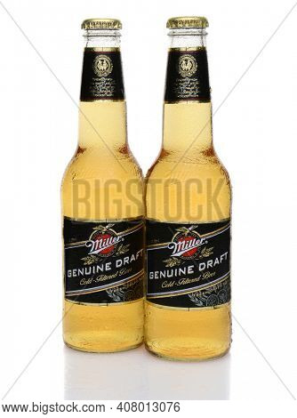 IRVINE, CA - MAY 27, 2014: Two Bottles of Miller Genuine Draft, with condensation. MGD is actually made from the same recipe as Miller High Life except it is cold filtered.