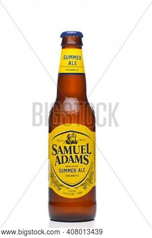 IRVINE, CALIFORNIA - 09 AUG 2020: A bottle of Samuel Adams Summer Ale isolated on white with reflection.