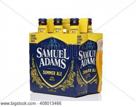 IRVINE, CALIFORNIA - 09 AUG 2020: A Six Pack of Samuel Adams Summer Ale, three quarters  view.