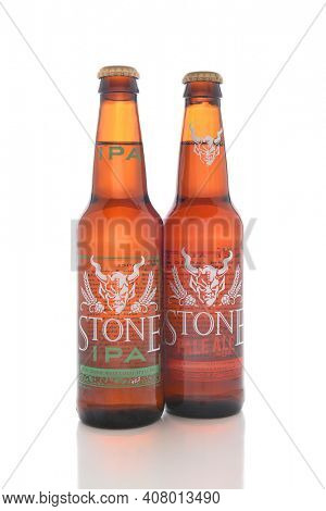 IRVINE, CALIFORNIA - AUGUST 25, 2016: Stone Brewing Company Ales. Stone Brewing is headquartered in Escondido, it is the largest brewery in Southern California.