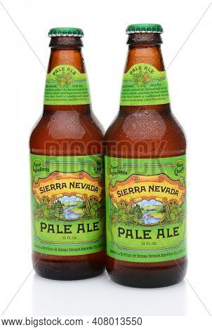 IRVINE, CA - MAY 25, 2014: Two bottles of Sierra Nevada Pale Ale. Sierra Nevada Brewing Co. was established in 1980 by homebrewers in Chico, California,