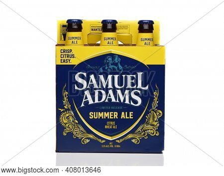IRVINE, CALIFORNIA - 09 AUG 2020: A Six Pack of Samuel Adams Summer Ale, side view.