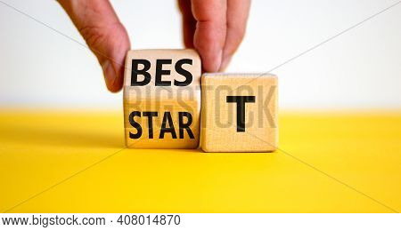 Time To Best Start Symbol. Businessman Turns A Wooden Cube With Words 'best Start'. Beautiful Yellow