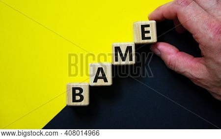 Bame Symbol. Abbreviation Bame, Black, Asian And Minority Ethnic On Wooden Cubes. Beautiful Yellow A