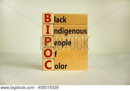 Bipoc Symbol. Abbreviation Bipoc, Black, Indigenous And People Of Color On Wooden Cubes. Beautiful W