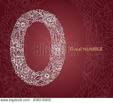 Floral Number 0 Made Of White Line Leaves And Flowers On Burgundy Background. Typographic Element Fo
