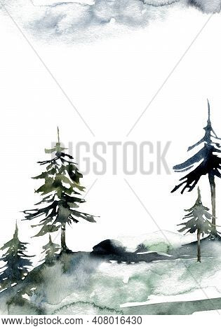 Watercolor Landscape Of Forest, Sky And Mountains. Hand Painted Abstract Winter Fir And Pine Trees.