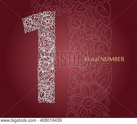 Floral Number 1 Made Of White Line Leaves And Flowers On Burgundy Background. Typographic Element Fo