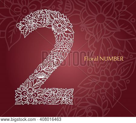 Floral Number 2 Made Of White Line Leaves And Flowers On Burgundy Background. Typographic Element Fo