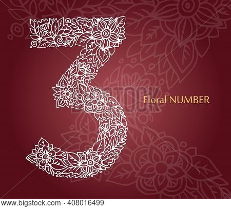 Floral Number 3 Made Of White Line Leaves And Flowers On Burgundy Background. Typographic Element Fo