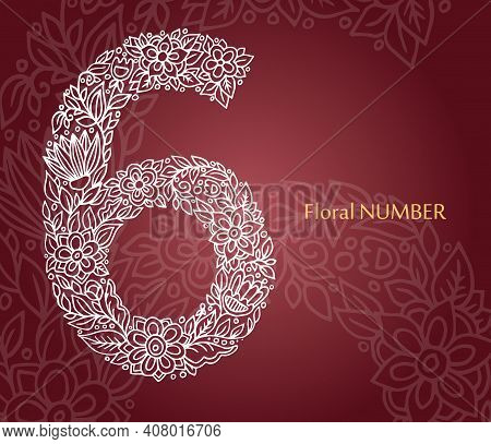 Floral Number 6 Made Of White Line Leaves And Flowers On Burgundy Background. Typographic Element Fo