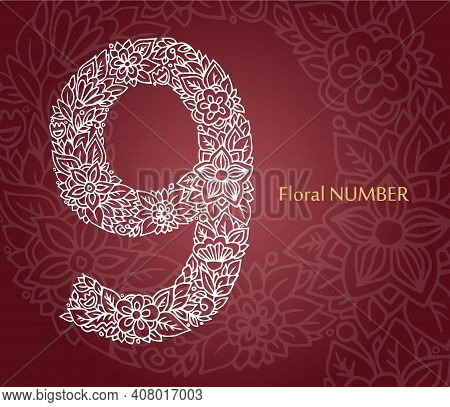 Floral Number 9 Made Of White Line Leaves And Flowers On Burgundy Background. Typographic Element Fo
