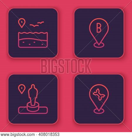 Set Line Location With Beach, And Monument, And Car Service. Blue Square Button. Vector