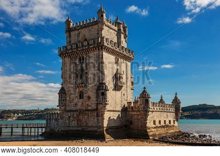 View at the Belem tower at the bank of Tejo River in Lisbon, Portugal