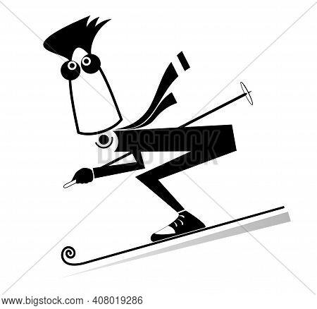 Cartoon Skier Man Illustration. Young Man Downhill Skier Black On White