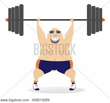Cartoon Big Man A Weightlifter Illustration. Cartoon Strong Man Trying To Lift A Heavy Weight Isolat