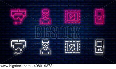 Set Line Nerd Geek, Postal Stamp, Virtual Reality Glasses And Tetris. Glowing Neon Icon On Brick Wal