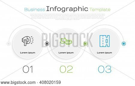 Set Line Bicycle Head Lamp, Shoes And Lane. Business Infographic Template. Vector