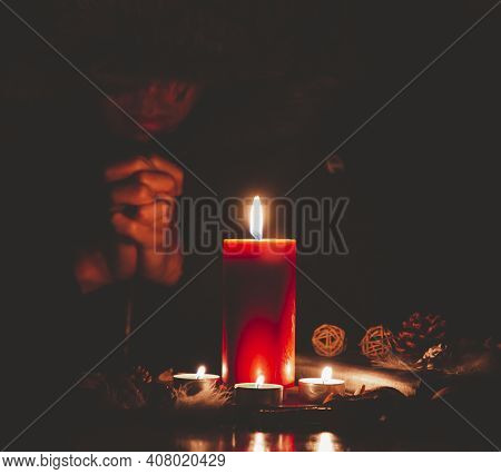 Woman Praying And Worship To God Using Hands To Pray In Religious Beliefs And Worship Christian With