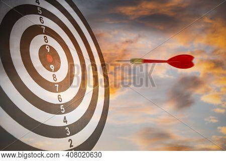 New Target And Goal As Concept, Close Up Shot Of The Dart Arrow Hit On Bullseye, Red Dart Arrow Hitt