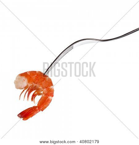 shrimp on fork isolated on white