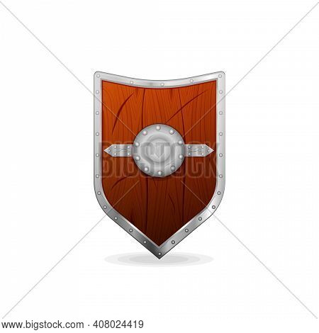 Wooden Vintage Vector Shield With Iron Rim Isolated On White Background For Your Arts