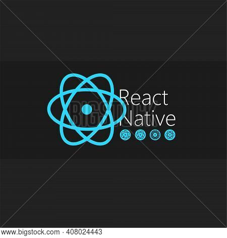 React Native Large Icons Set. Blue Vector Icons On A Black Background For Your Arts