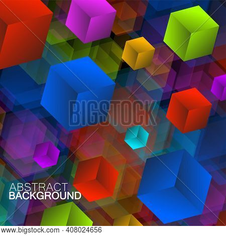 Abstract Colorful Geometric Background With Overlapping Bright Squares. Vector Illustration