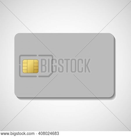 Sim Card Isolated On White Background. Chip For Mobile Phone. Realistic Vector Icon